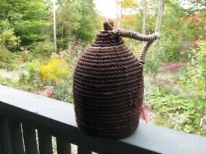 CROCK / JUG - ROPE COVERED - VINTAGE