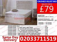 **Brand New DOUBLE Crush Velvet Divan Bed Available With Mattress Order Now** Littleton