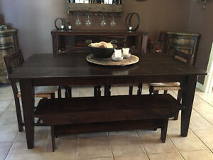 Barn Table Dining With Benches