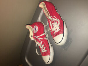 High top converse in red- size 9