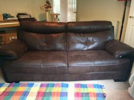 Sofa works brown leather effect 3 seater sofa