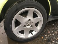 Set of smart car alloy wheels 2 near new tyres
