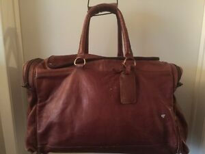 The Coffee Collection Brown Leather Duffel Bag