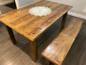 Reclaimed Barn Board Harvest Dining Table and Bench