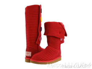 NEW UGG CARDY JESTER RED BOOTS SZ 6 YOUTH (37-37.5 women's)