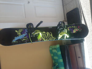 Sims snowboard with forum bindings
