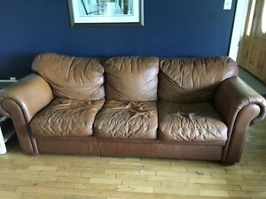 Free Brown Leather Couch and Loveseat to give away
