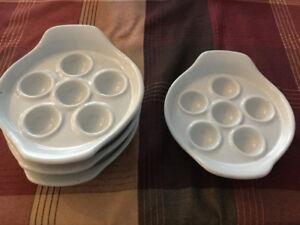 4 Plats à escargots en céramique