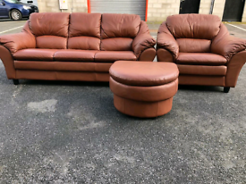 Brown Leather 3&2 Seater Sofas and Footstool