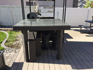 """Patio table wicker with glass top 54"""" Height"""