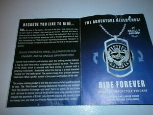 COLLIERS  RIDE FOREVER SPINNING HARLEY MOTOCYCLE PENDANT