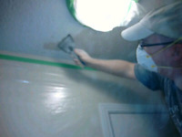 Popcorn ceiling removal, california knockdown texture