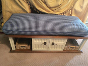 Hallway or Bedroom Bench or Ottoman w/ New Baskets & New Cushion