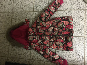 Girl winter jacket coat Gusti pink with flowers warm snow suit