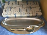 Large serving plate with spoon, in original box