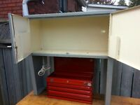 Work Cabinet, over tool chest book/manual, storage cabinet.