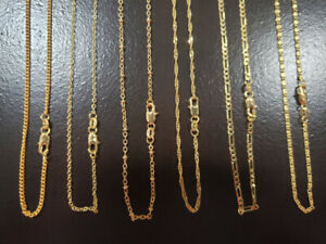 11- 18k gold filled chains, 6 styles $20 ea or all for $175