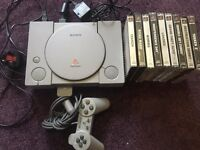 PlayStation 1 PS1 console and 9 games