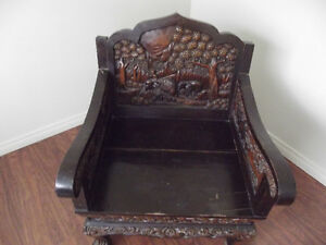 Burmese Carved Elephant Chair