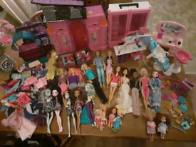 Barbie & Monster high bundle dolls and accessories