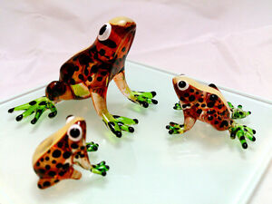 Adorable Colorful Glass Art Miniature Frog Family Figurines