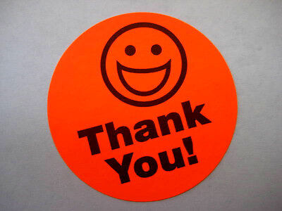 250 Big Thank You Smiley Label Stickers Red