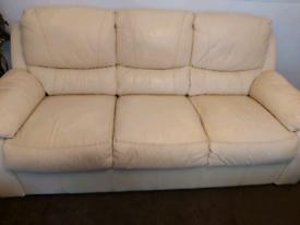 2 cream 3 seater leather sofas