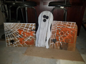 Halloween Decorations (ghosts made of recycled skids)