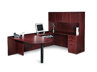 Mahogany Laminate U-shape Desk Set With Storage Cabinet Lateral File Bookcase