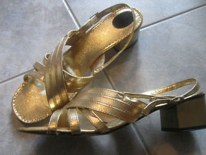 ONE PAIR OPEN-TOED and HEELED GOLD EVENING SHOES..[