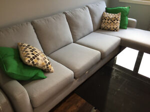 extra-long 4 seat fabric couch + chaise/ottoman converter