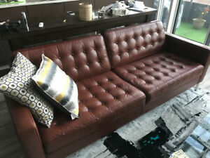 EQ3 Reverie Bronco brown leather couch