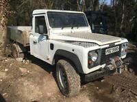 1997 Land Rover 130 300tdi Drop side, Flat bed. white