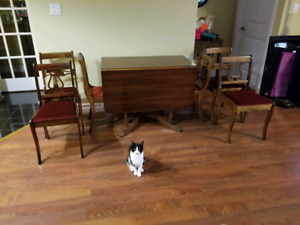 antique duncan phythe table, 6 chairs