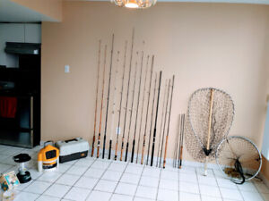 FISHING EQUIPMENT. RODS REELS LURES LINES TACKLES NETS ETC.