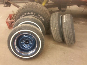 New 14x7 Steel Wheels with 185/75r14 Narrow White Wall Tires