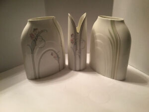 Royal Doulton Impressions set of 3 Vases, Lotus and Cyprus vases