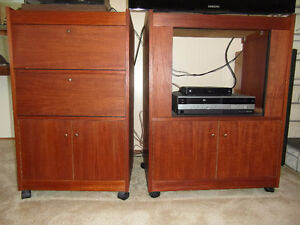 Teak Cabinet Entertainment Console with Sound System from 70s