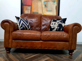 DFS vintage style 2 seater sofa in tan leather RRP £900