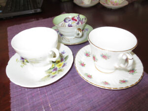 3 sets of cups and saucer - very pretty florals