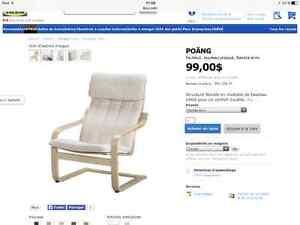 Chaise-Fauteuil POANG d'Ikea avec 2 coussins (blanc et bleu)
