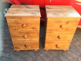 A PAIR LARGE PINE EFFECT BEDSIDE CUPBOARDS