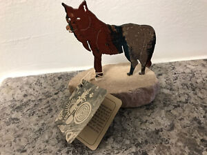 Metal and stone indian art wolf statue