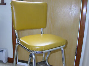Chrome Stool Chair with fold down steps. Vintage 1968.