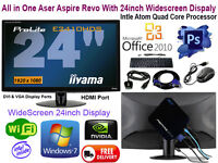 Aser Aspire Revo With 24inch Display Monitor All in one Computer Inter Quad Core Processor