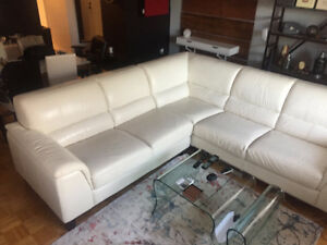 Contemporary off white L shaped REAL leather couch