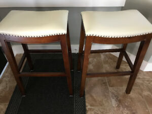 """Two Beautiful 30"""" leather topped stools"""
