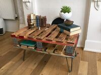 UNIQUE! Industrial, shabby chic, reclaimed pallet coffee table
