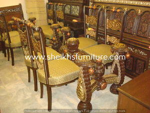 dhbnda Wooden carved dining pillars and dining chairs sbcvbdg