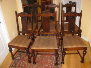 6 Charming Antique Solid Walnut Dining Room  Chairs Great Cond.